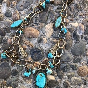 Laura Ashley Turquoise and Gold Long Necklace
